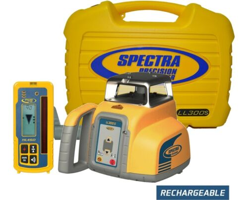 Spectra Precision LL300S Rotary Laser Level W/ Receiver, Rechargeable Batteries
