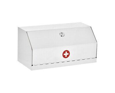 Adirmed White Steel Wall Mount Locking Medicine Safe Medical Supply Drug Cabinet