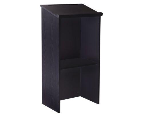 AdirOffice Black Wood Stand up Lectern, Floor-standing Podium, Adjustable Shelf