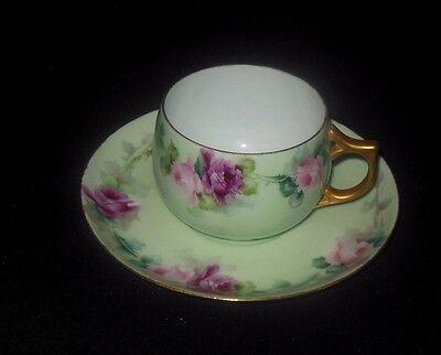 ROSENTHAL HAND PAINTED MINT GREEN TEA CUP SAUCER SET PINK MAUVE ROSES  1896