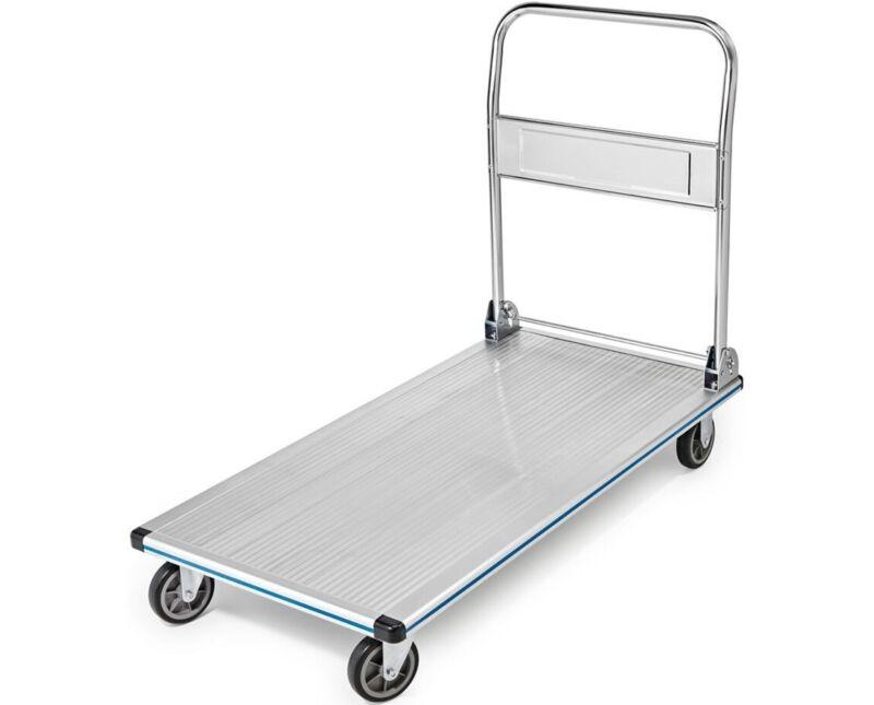 AdirOffice Silver Aluminum 600 lb Capacity Folding Platform Truck 48