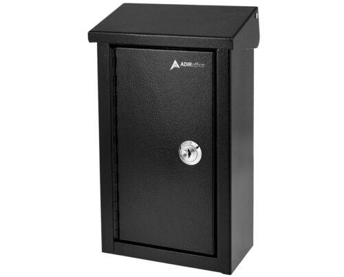 AdirOffice Black Coated Steel Outdoor Business Key Storage Mailbox Drop Box