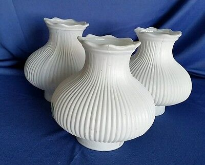 - 3 Vintage White Frosted Glass Pole Lamp Shades Ribbed Ruffled Replacement MCM