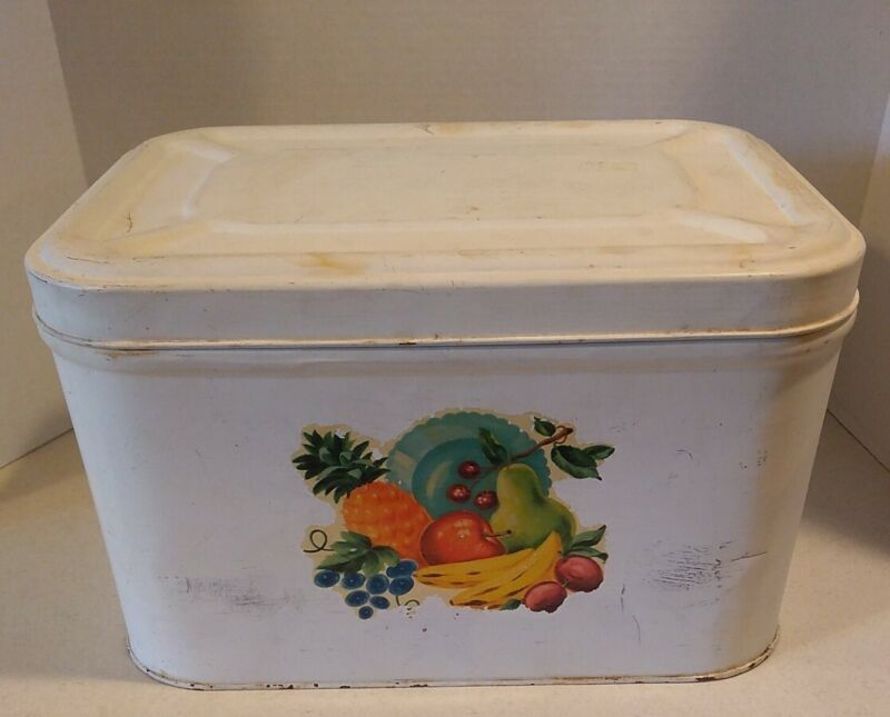 Vintage Metal Bread Box with Hinged Lid, Vented and Fruit Motif, Farmhouse