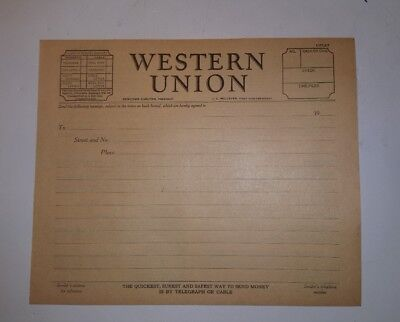 One  1  Vintage Western Union Message Blank Form Telegram Blank Form 1920S