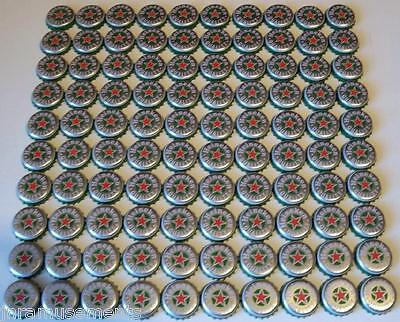100 Heineken Beer Bottle Cap Silver Red Star-Art Collage Craft Hobby Project Lot