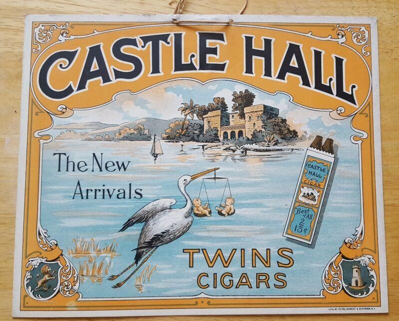 Antique Collectible Original Castle Hall Twin Cigar Stork Cardboard Advertisings