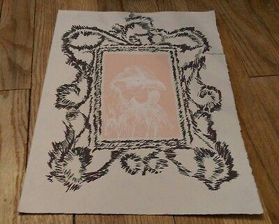 vintage print of a chicken/bird Light peach color white outline Framed detail