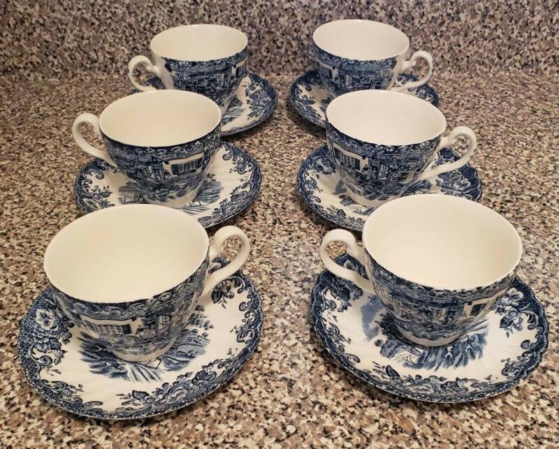 Vintage Johnson Brothers (6) teacup & saucers