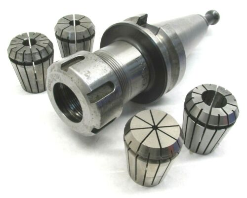 LYNDEX ER32 COLLET CHUCK w/ BT40 SHANK & 4 COLLETS