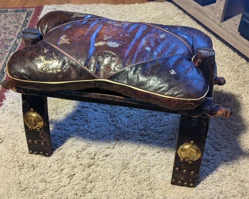 VINTAGE EGYPTIAN LEATHER MIDDLE EASTERN CAMEL SADDLE STOOL SEAT ANTIQUE