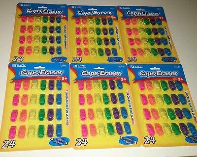 Bazic Caps Eraser Lot Bright Colors Eraser Caps Wholesale Lot 6 Packages