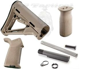 Magpul CTR Carbine Mil-Spec Stock, MOE Grip, Vertical Grip, ATI Buffer Kit FDE