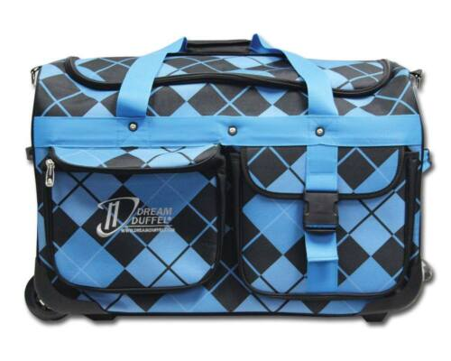 Dream Duffel Medium Blue Argyle Rolling Competition Dance Bag Luggage Rack