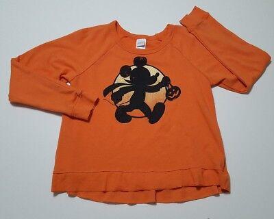 Disney Mickey Mouse Orange Halloween Pumpkin treat Sweatshirt medium
