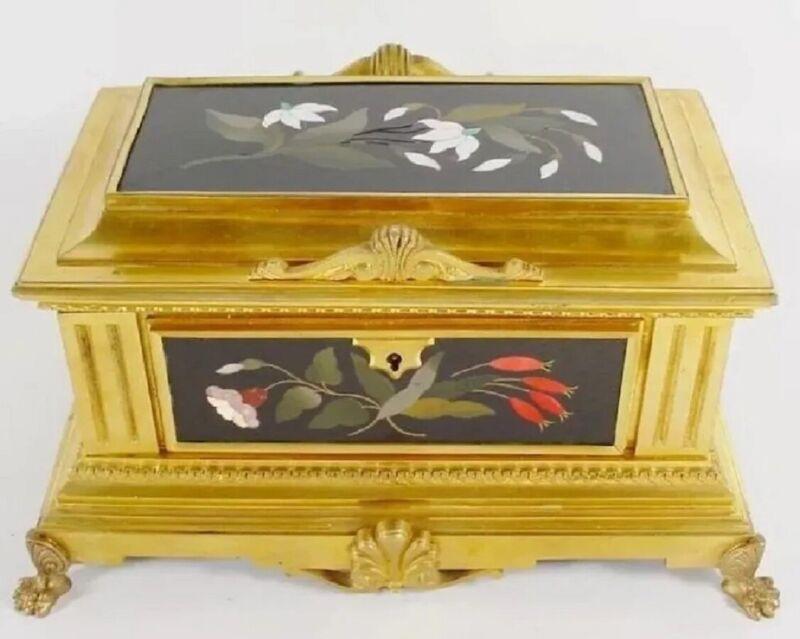 "French Gilt Bronze Pietra Dura Casket Hinged Box ""FIVE WONDERFUL PLAQUES""."