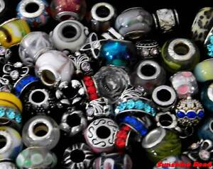 Wholesale European Bead Charm Lot with Bracelet 925 Sterling Silver Glass 25/50