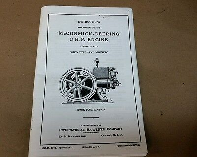 MCCORMICK-DEERING 1 1/2 hp  instructions for operating  Hit and Miss Gas Engine