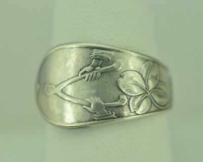 925 Sterling Silver Leaf Ring - Beautiful 925 Sterling Silver Four-Leaf Clover Good Luck Spoon Ring