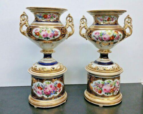 Antique Pair of Magnificent Paris Floral Porcelain Urns on Stands