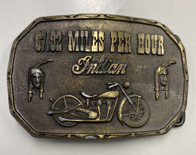 VINTAGE INDIAN MOTORCYCLE BRASS BELT BUCKLE