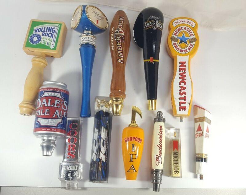 Beer TAP Handle Lot Of 12 Budweiser Michelob Oskar Blues Coors Harpoon Bass