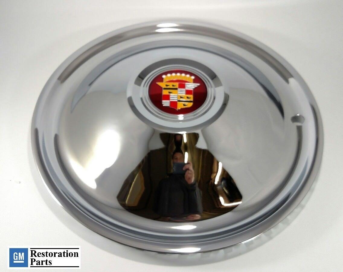 """16"""" Cadillac Sombrero Chrome Hubcaps Hot Rod Rat Rod New Set of 4 Caddy Emblem"""