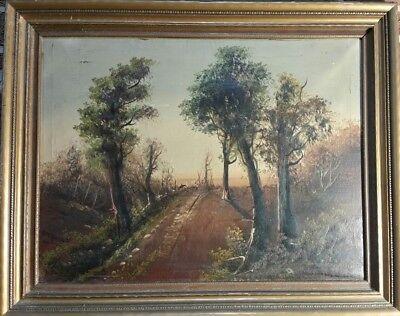 Antique Oil Painting board backed canvas  LANDSCAPE signed BM Brown Danchet art