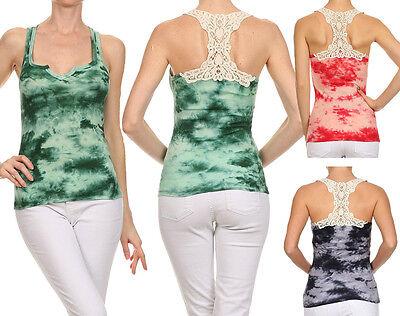 - New Women's Tie Dye Sleeveless Ribbed Racerback Tank Top w/ Lace Crochet Back