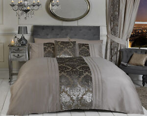 vison luxe damas flock es pintuck ensemble housse de couette dredon. Black Bedroom Furniture Sets. Home Design Ideas
