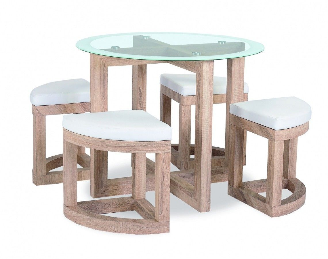 Round Clear Gl Top Four Small Stools