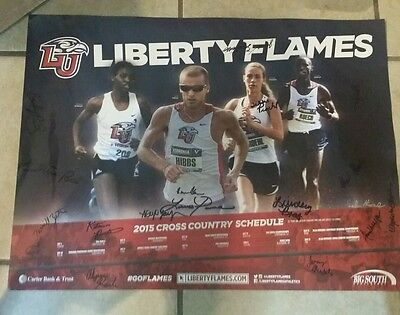 2015 Liberty University Flames Autographed Cross Country  Schedule Poster