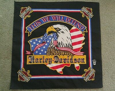 "Vintage Harley Davidson Scarf Bandana Wall Decor 22"" x 22"" - This We Will Defend"