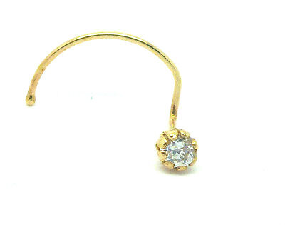 9ct Yellow Gold  Stone Set Nose Stud  with 2mm Clear Cubic Zirconia