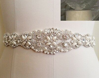 Wedding Sash Belt - Crystal Pearl Belt = 12 inch long in IVORY SHEER sash