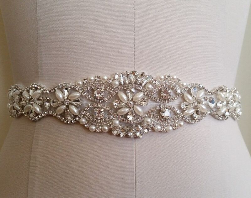 "Wedding Sash Belt - 17"" Crystal Pearl Wedding Dress Sash Belt = 17 inch long"