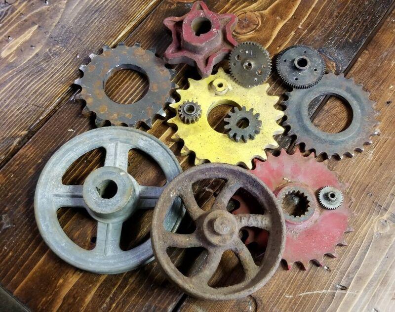 Vintage Lot Factory Machine Gear Industrial Sprockets Farm Iron wheel  Old