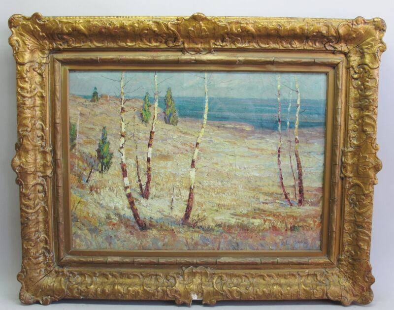 "Original American Oil Painting GEORGE LOUIS BERG ""On the Shore"" c. 1919  antique"