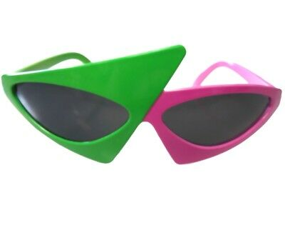 Awesome 80's Asymmetric Roy Purdy Sunglasses Glasses Neon Green and Hot (Awesome Glasses)