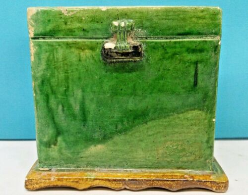ANTIQUE HAN DYNASTY STYLE CERAMIC ENAMEL GREEN BOX