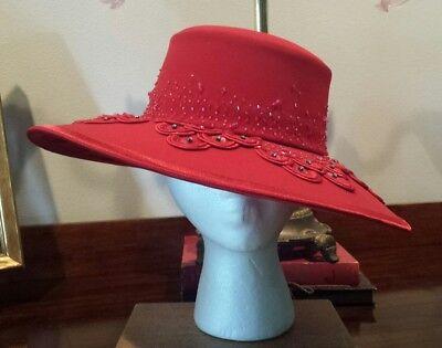 Ben Marc International Wide Brim Derby Hat Church RED Bow Glitter Beads Gorgeous