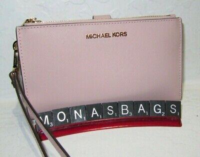 Michael Kors Jet Set Travel Large Phone Double Zip Wristlet Wallet Blossom Pink