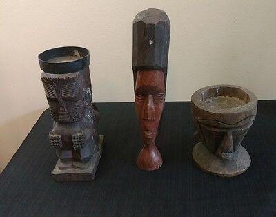 Vintage Solid Wood  Hand Carved TIKI/African? Sculpture LOT OF 3