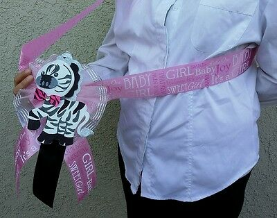 1 Baby Shower Party  MOM TO BE SASH Zebra,Pink /Girl, Ribbon favors ,Mother,niña