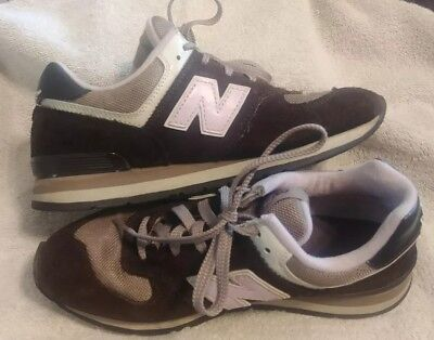 New Balance 574 Women's Brown & Pink Suede Leather Athletic Sneaker Shoe Sz 5.5