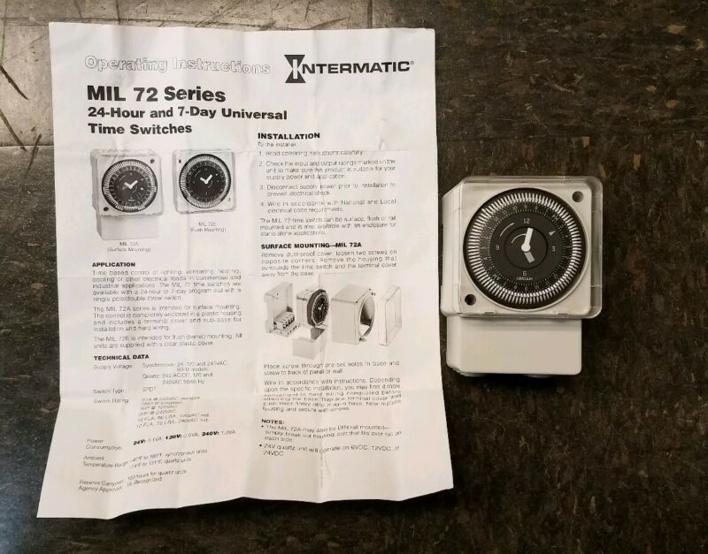 INTERMATIC MIL72ASTUZ-120 Electromechanical Timer,24-Hour,SPDT