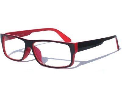 BLACK AND RED CLEAR LENS GLASSES HIPSTER Teacher Student Retro Polite Frame (Red And Black Frame)