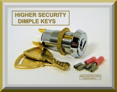 Alarm Key Switch - Two Higher-security Dimple Keys Momentary Spst 4amp125