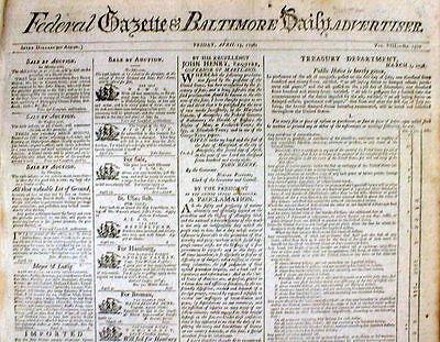 (Rare original 1798 newspaper Federal Gazette Baltimore Daily Advertiser MARYLAND)