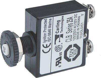 Blue Sea Systems Push Button Reset Only Screw Terminal 25a Circuit Breaker